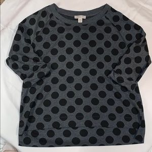 Coldwater Creek Black and Gray Polka Dotted Top
